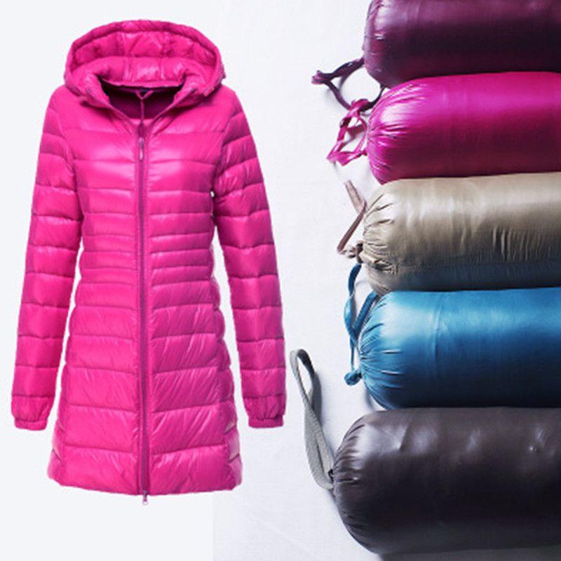 Compre Senhoras Da Marca Longo Inverno Mulheres Casaco Quente Ultra Leve  90% Pato Branco Para Baixo Jaqueta De Casaco Com Capuz Parka Jaquetas  Femininas ... b240be2d0d36