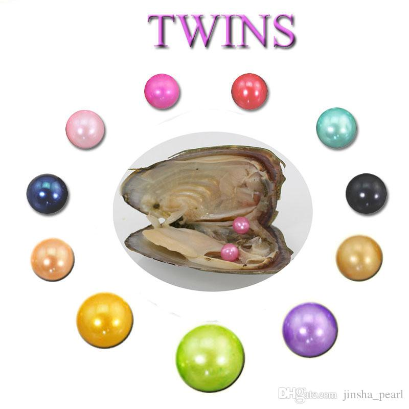 Wholesale DIY Natural Akoya 6-7mm Mix Colors Freshwater Round Twins Pearl Oyster For DIY Making Necklace Bracele Earrings Ring Jewelry Gift