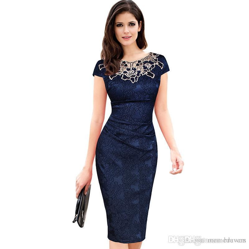 Sexy Foiled Overlay Lace Dress Vintage Élégant Maj Crayon Office Dress Vestids Femininos Formal Midi Moulante Dames Robe S-012