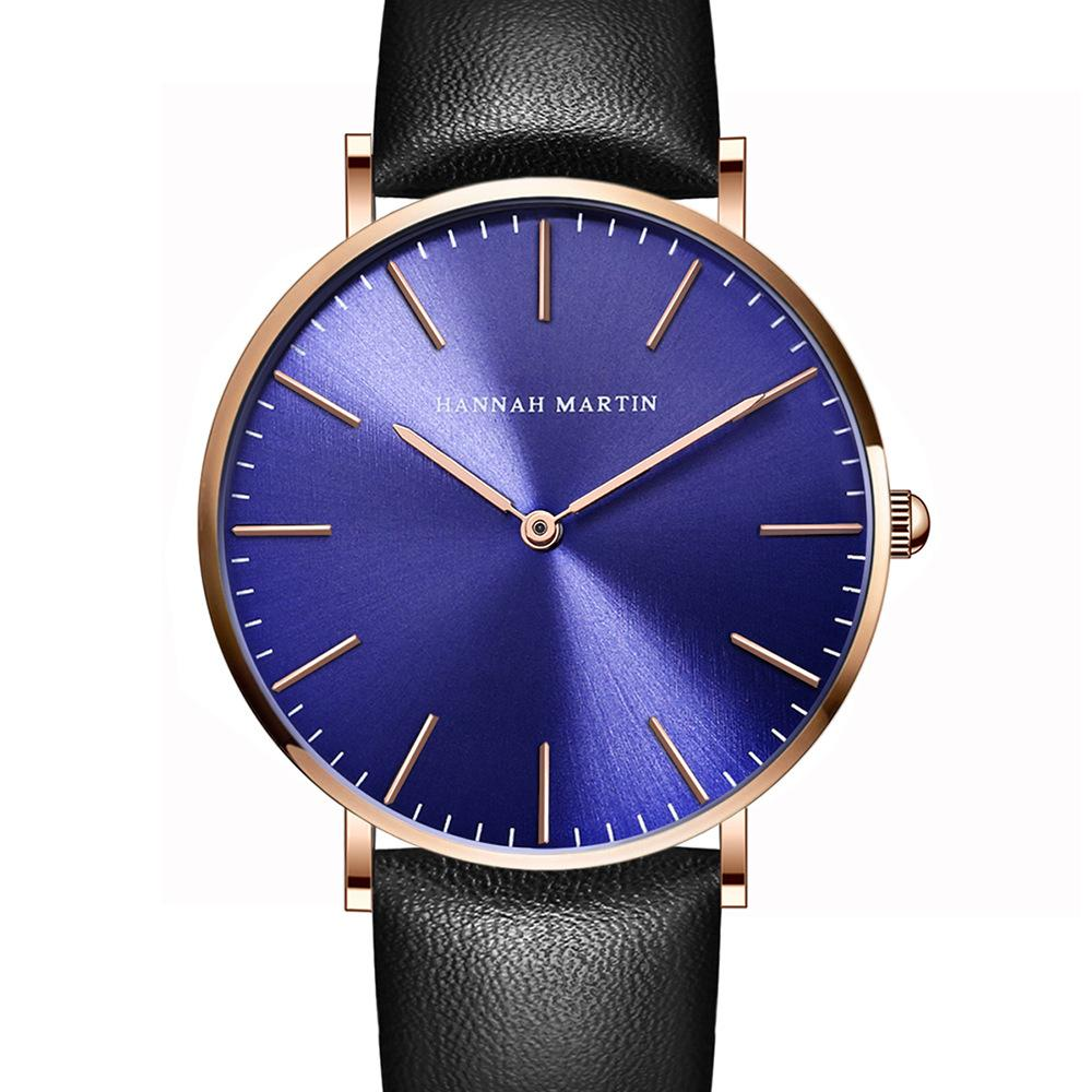 Blue Face Men Watches Sun Pattern Quartz Watch Woman 40mm Fashion Watch  Ultra-thin Couple Table Leather Strip Steel Clock