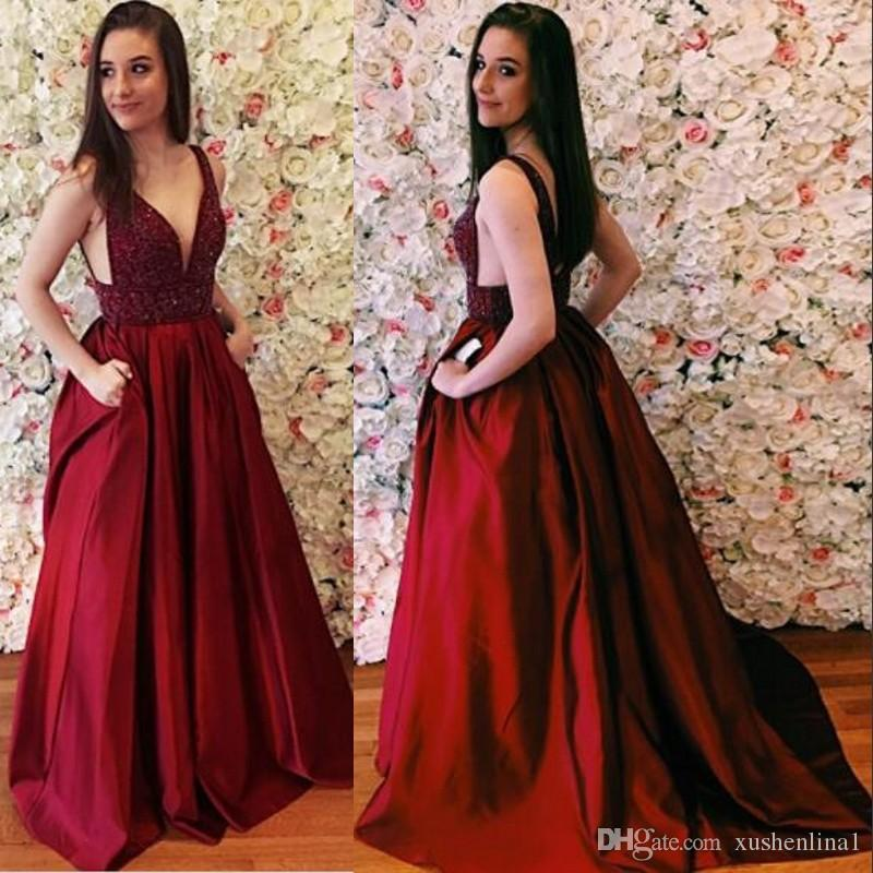 Burgundy V Neck Prom Dress Beaded Applique Bodice A Line Long Prom Dress  With Pockets Open Backless Satin Prom Dresses Formal Wear Exclusive Prom  Dresses ... 890d14262