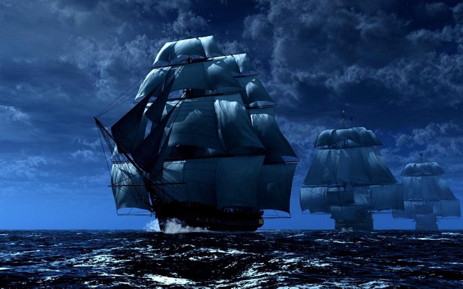 Pirate Ships Sailing the High Seas Art Silk Poster 24x36inch 24x43inch