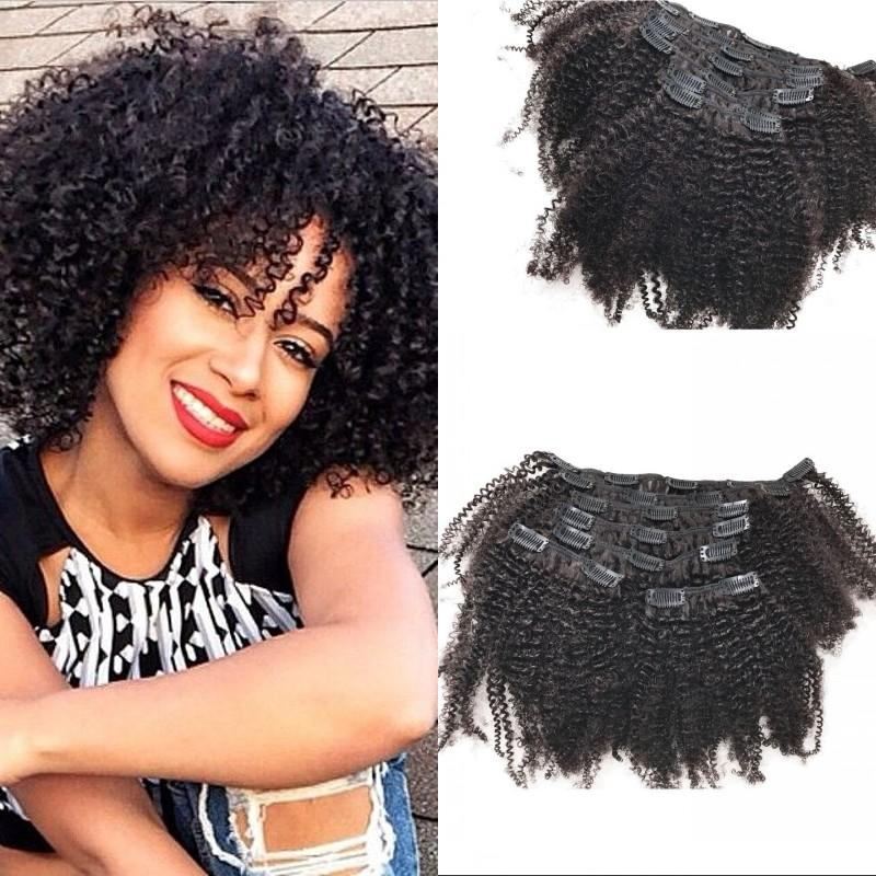 Clip In Curly Hair Extensions For African American Eurasian Human