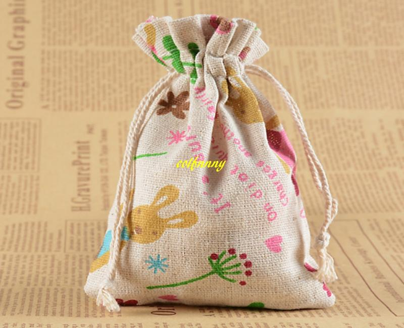 10x14cm Cotton Linen Printed Drawstring Bag Jewellery Gift Bag For Wedding Shopping Bags Small Pouch 28 styles