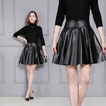 95e1b48fcf1 2019 Women New Sheepskin Skirt Pleated Leather Skirt From Makemefly ...