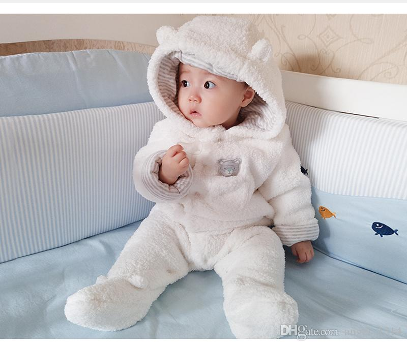 1869941dd0685 2019 Newborn Baby Warm Rompers Hooded Plush Jumpsuit Baby Boy Girl Winter  Clothes Overalls For Kids From Angel_1314, $23.12 | DHgate.Com