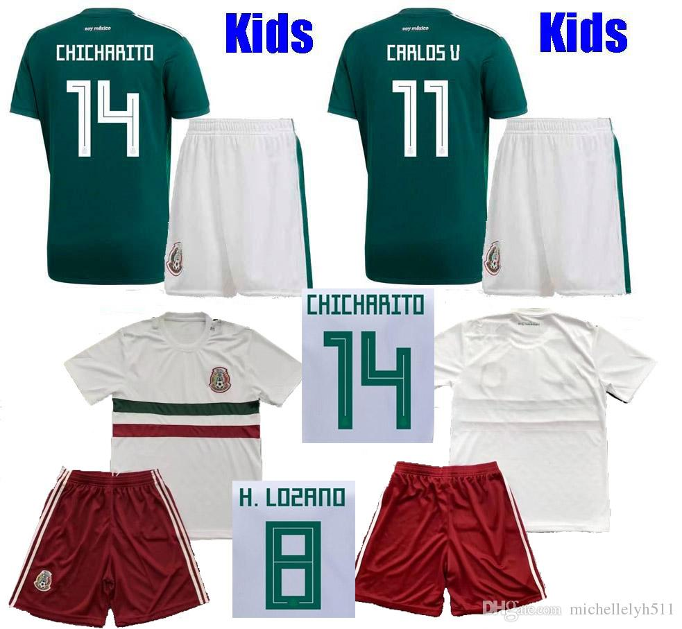 370f1e9a3bd 2019 Kids Mexico Soccer Jersey Shorts 2018 World Cup CHICHARITO H.LOZANO  G.DOS SANTOS A.GUARDADO Boys Football Kits Mexico Home Away Soccer Sets  From ...