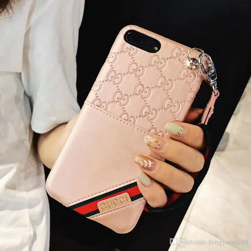 wholesale dealer a9690 57551 For iphone X Xs Xs max 6 6plus 7 7plus 8 8plus Fashion Luxury Phone Case  Leater Card Pocket Lanyard Phone Back Cover