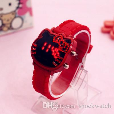 2018 Kids Watch High Quality Hello Kitty Children Wristwatch Brand Dress Waterproof Wristwatch Led Digital Ananlog Clock Best Gift For Girl