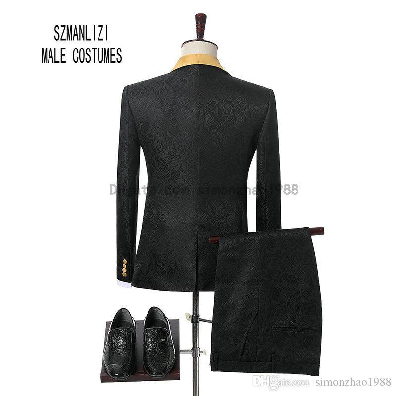 2018 Marque Marié Smokings Garçons D'honneur Un Bouton Noir Fleur Or Châle Revers Personnalisé Formelle Marié Porter Hommes De Mariage Smokings Costumes De Mariage