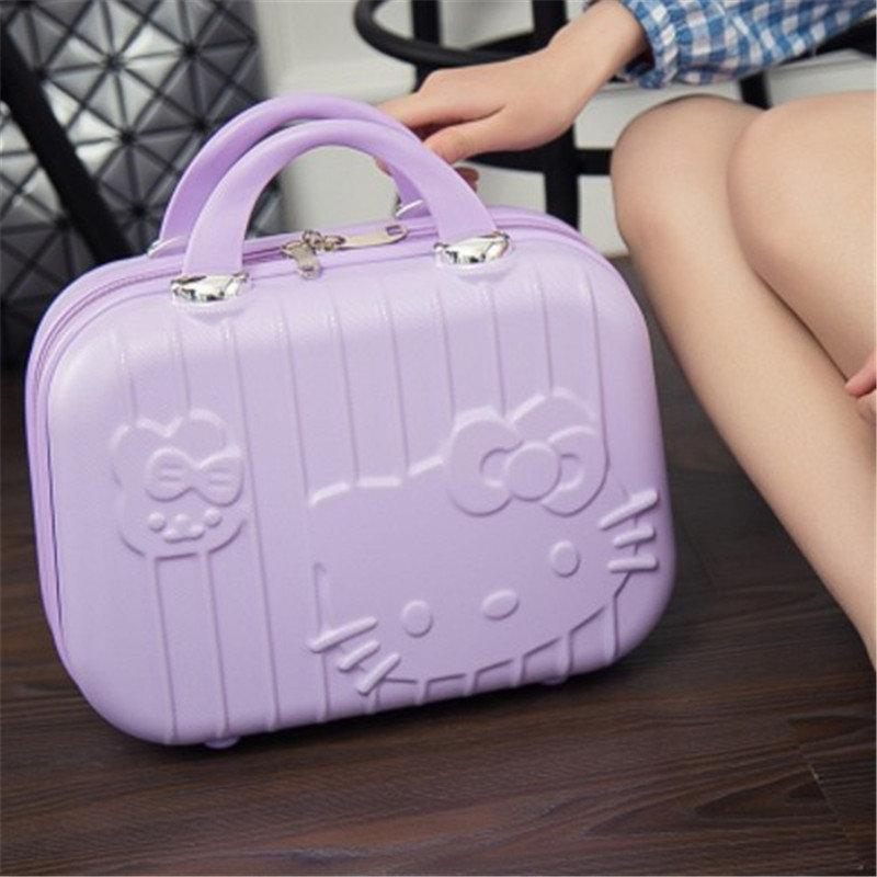 d5f997013e25 HOT 13inch Business Cosmetic Bag Hello Kitty Girl 3D Hello Kitty Students Trolley  Case Travel Luggage Woman Rolling Suitcase Handbags Bags From Ipinkie