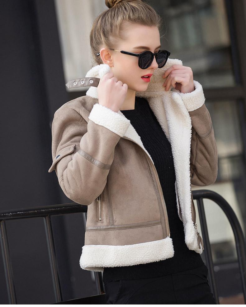 0bf8669ee 2019 2017 Shearling Sheepskin Coats Women Thick Suede Jackets Women Autumn  Winter Lambs Wool Short Motorcycle Coats UV3001 From Bichery, $77.79 |  DHgate.Com