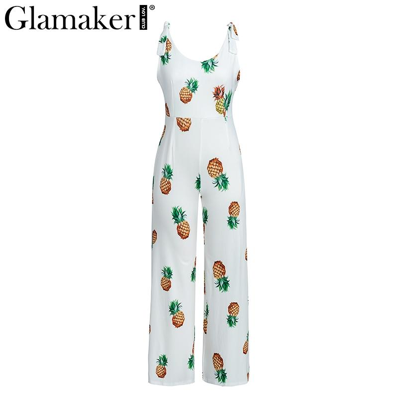 cf7148f57a8a 2019 Glamaker Elegant Pineapple Print Bow Sexy Jumpsuit Romper Fashion  Transparent Women Jumpsuit Summer Backless Playsuit Overalls From Flowter