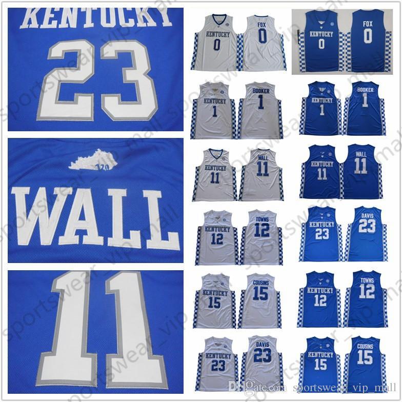 wholesale dealer 5d7a4 137cd NCAA Kentucky Wildcats Jerseys College Basketball DeMarcus Cousins Malik  Monk Fox John Wall Anthony Davis Devin Booker Towns BLUE