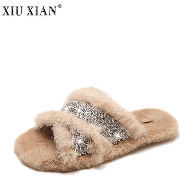 ee387d2af48 Real Rabbit Fur Slippers Women Winter Shome Home Shoes For Woman Wood Floor Slipper  Female Slipper Fashion Women Slippers Real Sheepskin Slippers Slippers ...