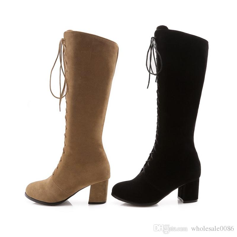 6a8c0b1bf08 Fashion Hot Sale Womens Ladies Faux Suede Chunky High Heel Lace Up Zip Knee  Boots B969 Shoes Size US Size 4-10.5