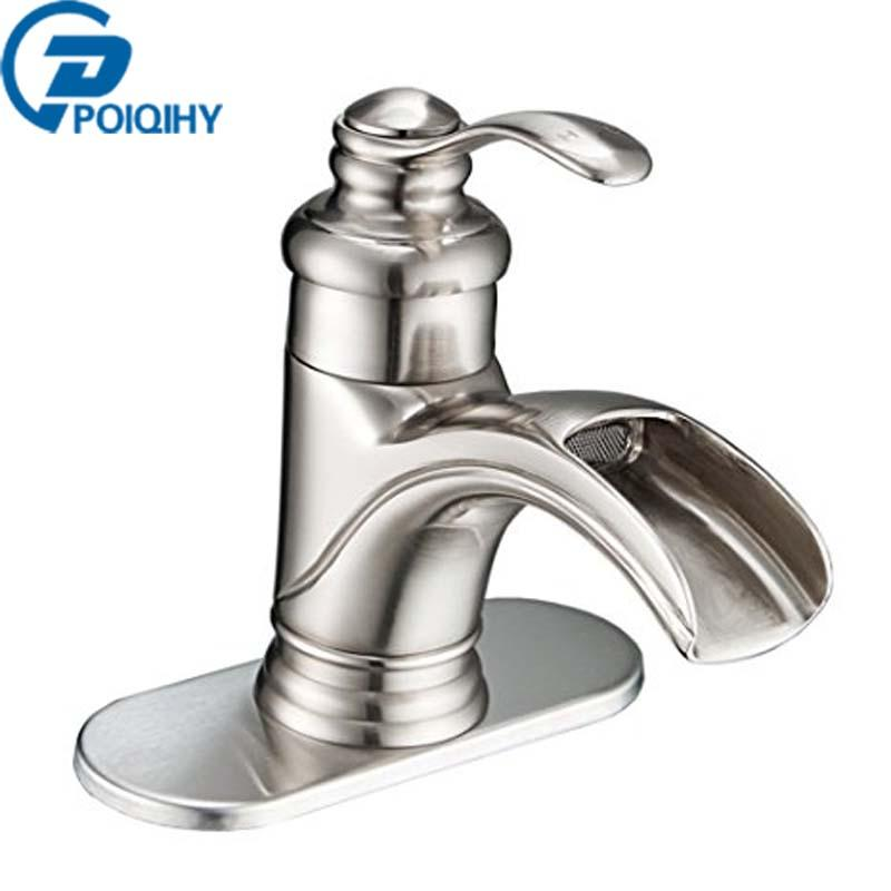 Bathroom Basin Faucet Waterfall Spout Orb & Brushed Nickel Single ...
