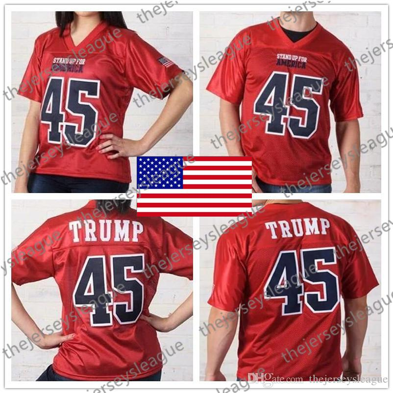 cbdba775834 2019 Stand Up For America  45 Donald Trump Best Quality Stitched Red Mens  Womens Youth Fashion Football Jerseys Free Shopping From Thejerseysleague