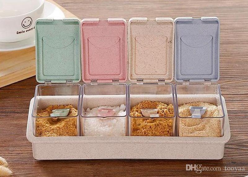 Colorful Kitchen Herb Spice Box Condimento Salsa Scatola di plastica stagionatura Barattoli di cucina Condimen Storage Bottles