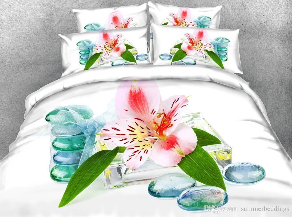 3d White Bedding Sets Floral Duvet Cover Bedspreads Comforter Cover