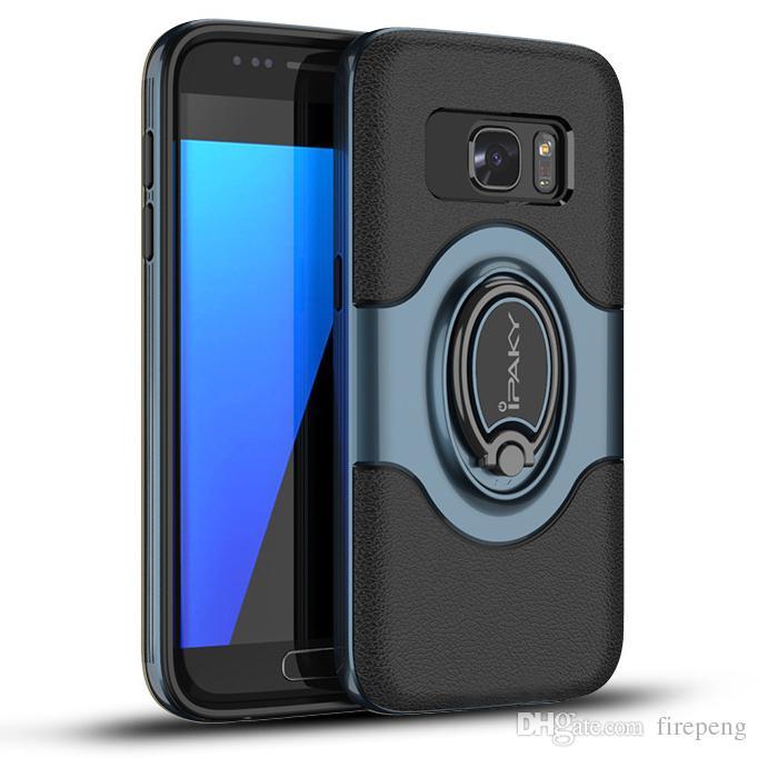 86ce5392675 Fundas Movil IPaky Funda Para Samsung Galaxy S7 Edge Soporte De Anillo  Magnético SM S7 Contraportada PC TPU Cajas A Prueba De Caída Con Paquete  Stock Fundas ...