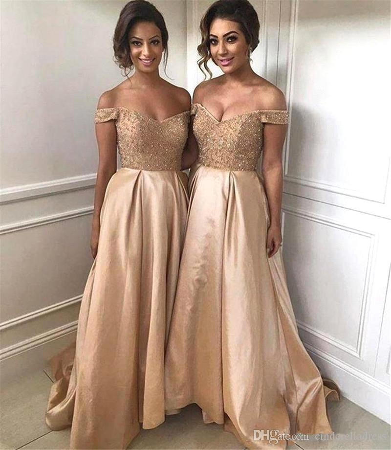 Elegant Off The Shoulder A Line Bridesmaid Dresses 2018 Beaded Stones Top Ruched High Low Party Gowns Wedding Guest Maid Of Honor Dress