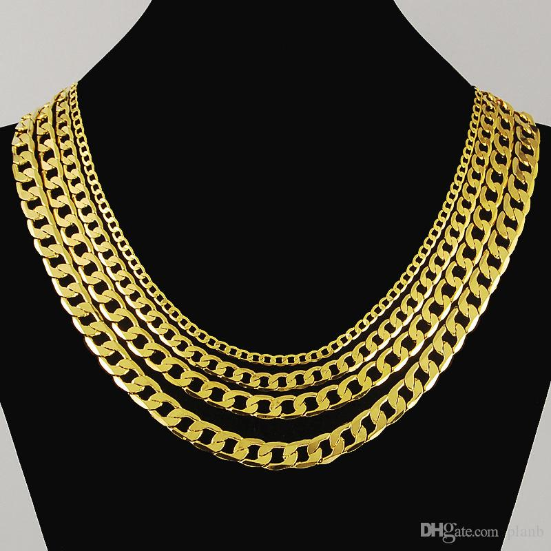 29641c96f82f6 Never fade Fashion Luxury Figaro Chain Necklaces Men Jewelry 18K Real  Yellow Gold Plated 9mm Chain Women Mens Hip hop Necklace