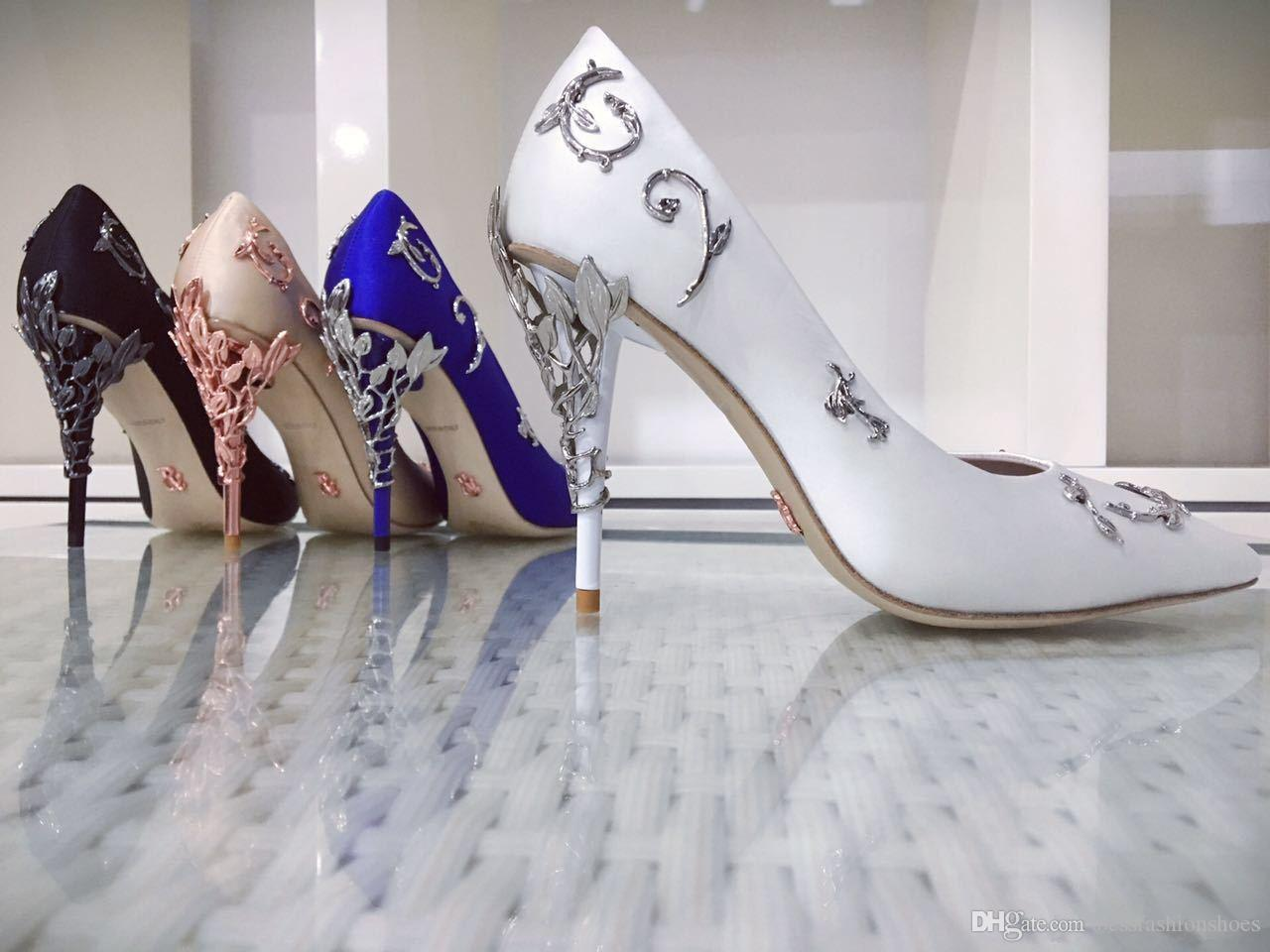 553c644a1286 Ralph   Russo EDEN PUMP White TAUPE SATIN WITH SILVER LEAVES Wedding Shoes  Women s Ornamental Filigree Leaves Embellished Party Shoes Female Wedding  High ...