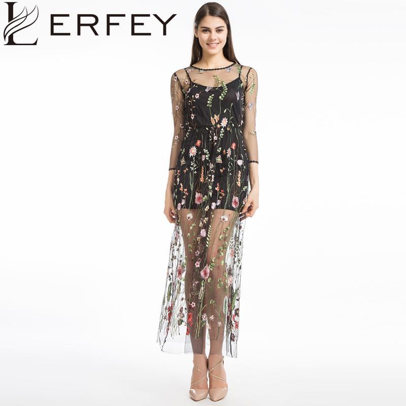 f9c6d73931f81 Satın Al Lerfey Kadınlar Nakış Çiçek Gündelik Elbise Yaz Iki Parçalı Örgü  Maxi Elbise Siyah Elbiseler Uzun Seksi Elbise Giyim Vestidos, $34.31 |  DHgate.