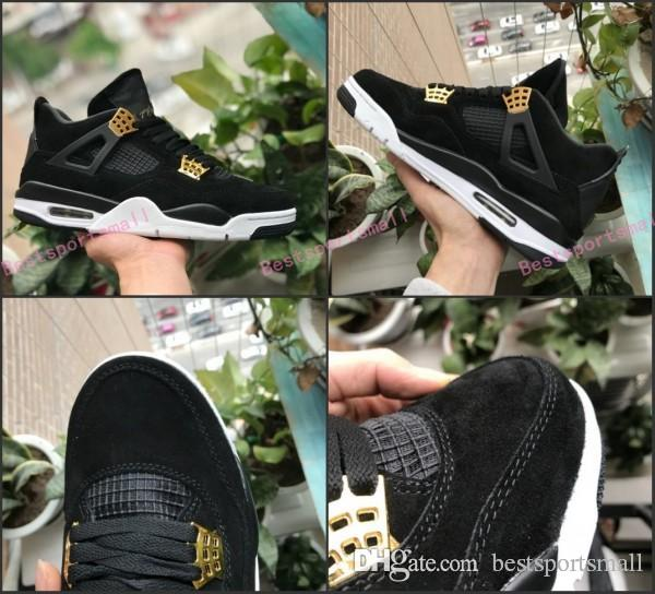 6d1c3ab3825418 High Quality 4 4s Royalty Suede Black Gold Men Basketball Shoes 4s Royalty  Black Suede Sports Sneakers New Jordans Running Shoes From Bestsportsmall