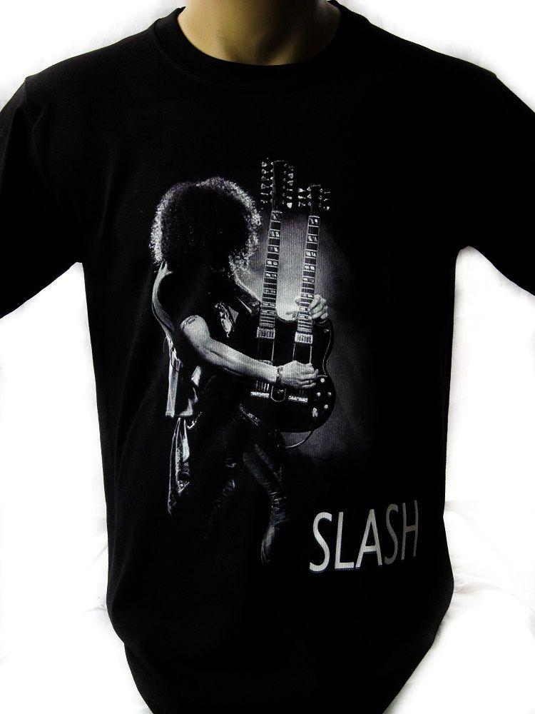 943c98447daa33 SLASH BLACK DOUBLE GUITAR Black T Shirt Men Shirt Rock Band Tee Music Funny  Vintage T Shirts T Shirts From Thecooltshirt, $13.19| DHgate.Com