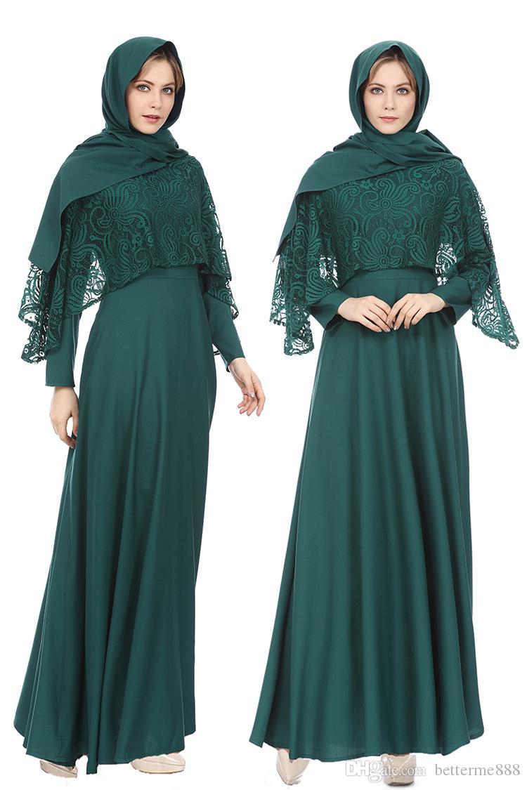 91338ba96 Compre Moda Para Mujer Abaya Jilbab Ropa Islámica Cóctel Musulmán Maxi  Vestido De Encaje Robe Femme Musulman Ropa Árabe Tradicional A  14.56 Del  Betterme888 ...