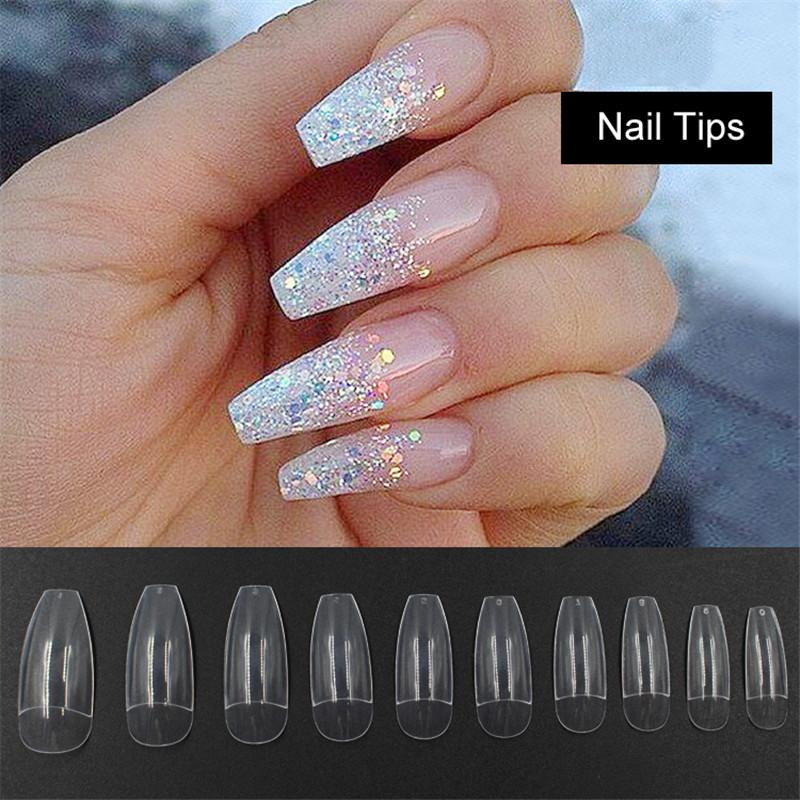 Wholesale Long Ballerina Half Nail Tips Clear Coffin False Nails Abs Artificial Diy Fake Uv Gel Art High Quality Acrylic Designs