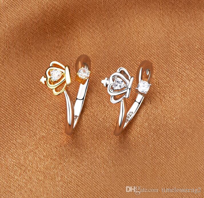 Elegante form krone diamant Ringe Schmuck Kristall Offene Ringe Für Frauen Nizza Geschenke Muttertag Freies Schiff