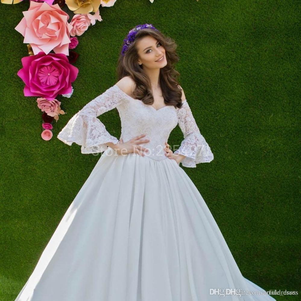 Discount Robe De Mariage 2017 Wedding Dresses Flare Sleeves Off The ...