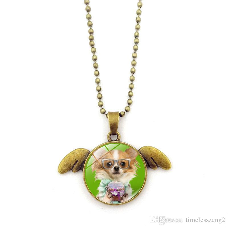 Cute dog series necklace Time Gem Cabochon angel's wings pendant necklace Personified dog bronze sweater chain