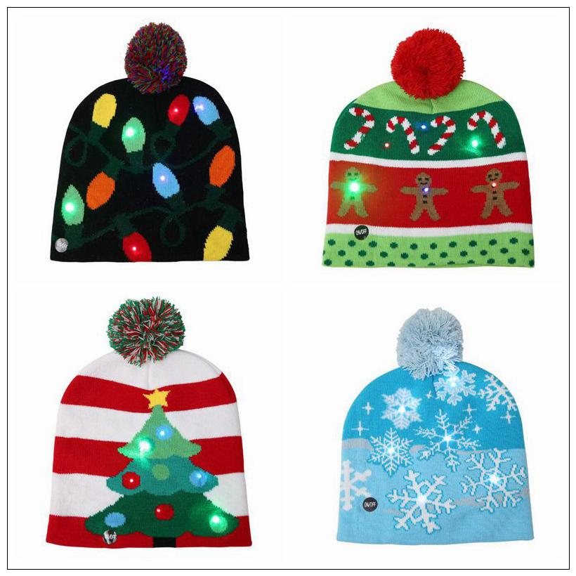 28731d6a59a 2019 4 Styles LED Light Knitted Christmas Hat Unisex Adults Kids New Year  Xmas Luminous Flashing Knitting Crochet Hat Party Favor CCA10262 From  B2b life