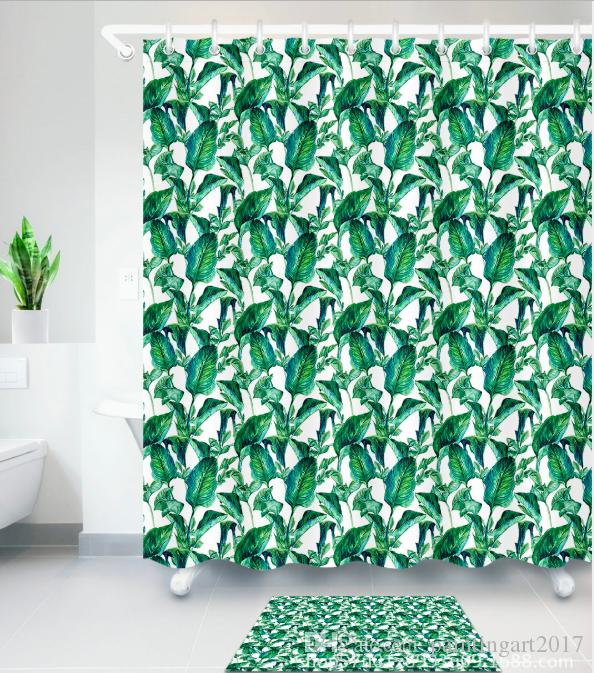 2019 3D Digital Printing Tropical Plant Banana Leaves Shower Curtain Mildew Resistant Waterproof Polyester Fabric Bathroom Floor Mats Sets From