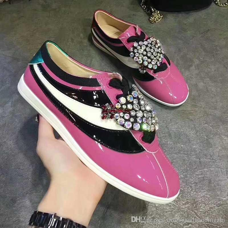 spring fall womens silver gold Glitter pink Genuine patent Leather Luxury Jewelry Rhinestones embroidery low top Sneakers Trainers