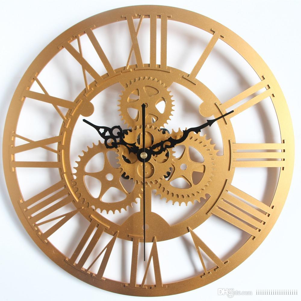 Wholesale Modern Home Decor Large Wall Clock 3D Retro Europe Style Gear Art Watch Copper Kitchen From