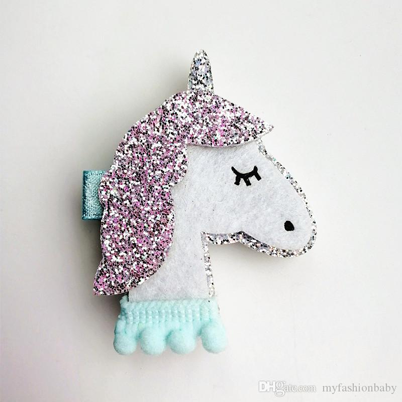 New Horse Colorful Kids Glitter Felt Hairpin Animals Girl Cute Pink Unicorn Hair Clip Hairpin Synthetic Leather Baby Clips