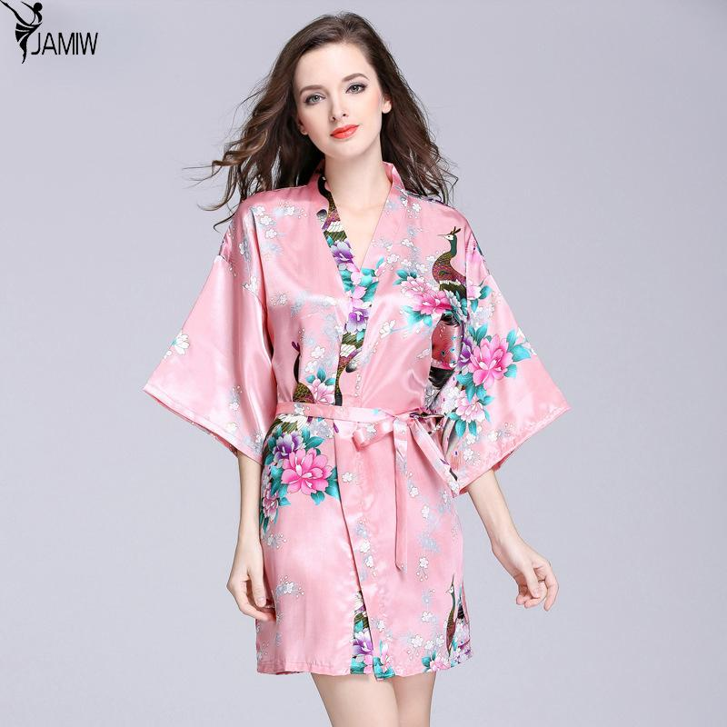 2019 Peacock Gown Sleeve Woven Silk Pajamas Bathrobes Women S Summer Silk  Single Nightgown Tracksuit From Beenling 0443e3d89