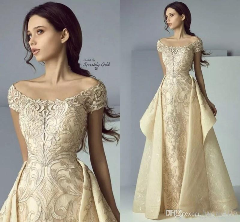 22198e85cb 2018 Saiid Kobeisy Luxury Gold Lace Appliques Prom Dresses Off Shoulder  Overskirt Long A Line Middle East Plus Size Party Evening Gowns Wear High  School ...