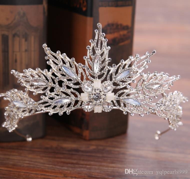 Bridal Headband hoop hand set diamond drill, leaf head button ornament belt, bridal crown.