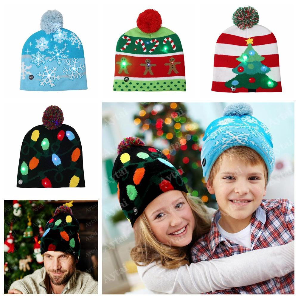 LED Christmas Beanie Ugly Christmas Sweater Tree Beanie Light Up Knitted  Hat For Children Adult Party Headwear Beanies For Men From Clintcapela aa20750ef826