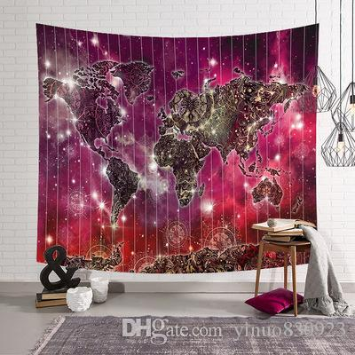 New 3D World Map Galaxy Polyester Wall Tapestry Home Living Decor Space Beach towel tablecloth 130*150cm