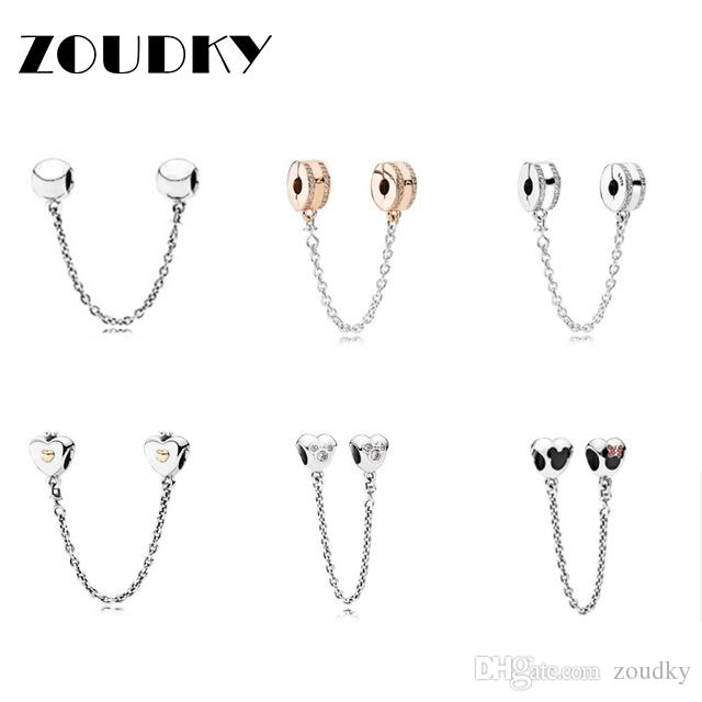 ZOUDKY 100% 925 Sterling Silver Love Clear CZ Security Chain Charm Bead  Collocation Bracelet DIY Bangle Factory Wholesale Pandora Online with   20.78 Piece ... b4acb7ff8