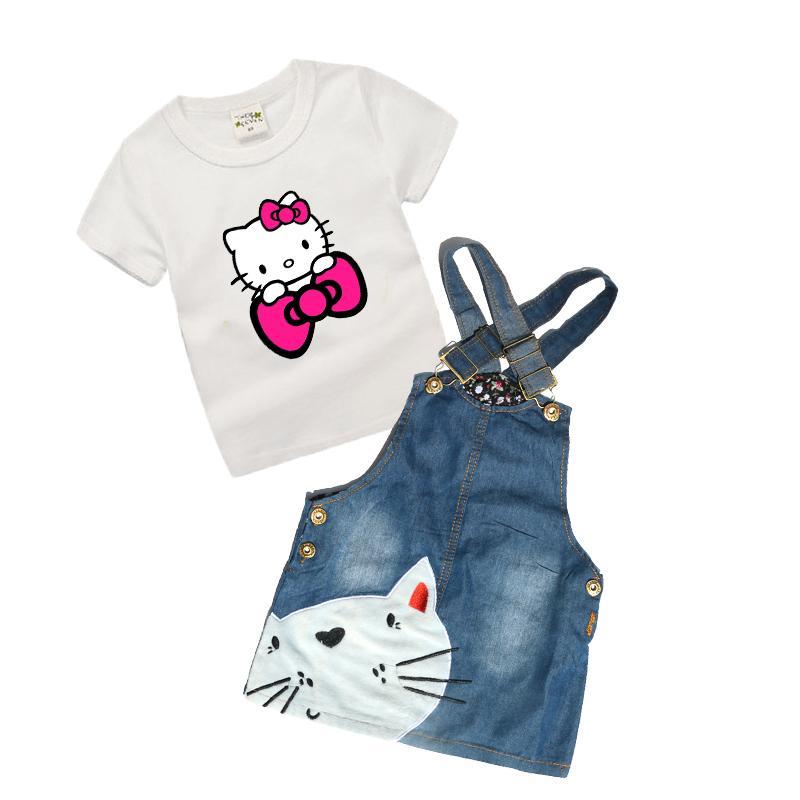 ea7ff062370 Acheter 0 6 Ans Bébé Filles Denim Robe Été Dernier Toddler Filles Vêtements  Pour Enfants Boutique Enfants Vêtements Bonjour Kitty Z28 Y1892808 De   19.09 Du ...