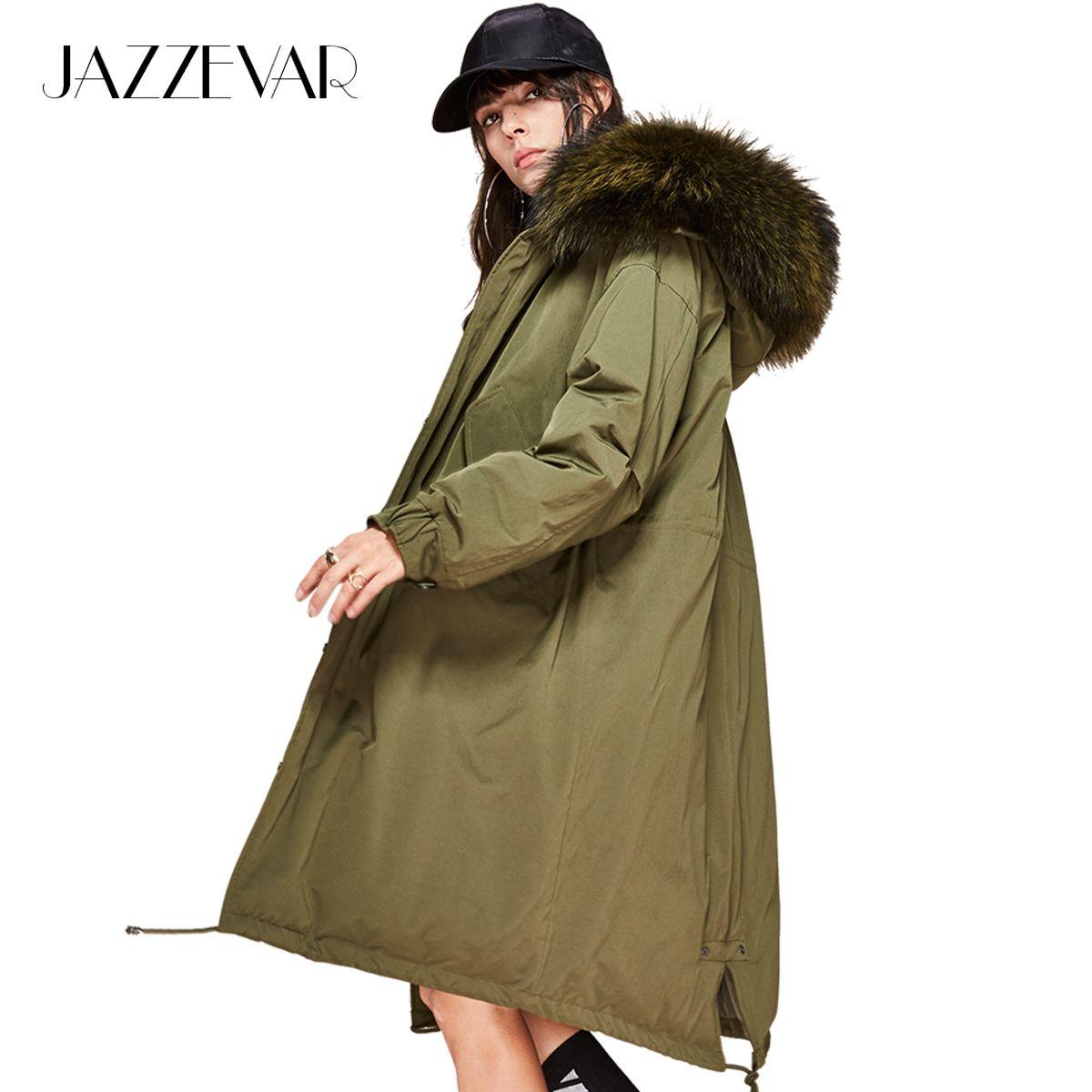 Acquista 2019 JAZZEVAR New Fashion 2018 Inverno Piumino Donna In Piuma D oca  Bianca 90% Oversize Lungo Cappotto Lungo Grande Vera Pelliccia Di Procione  Con ... 2968132f427