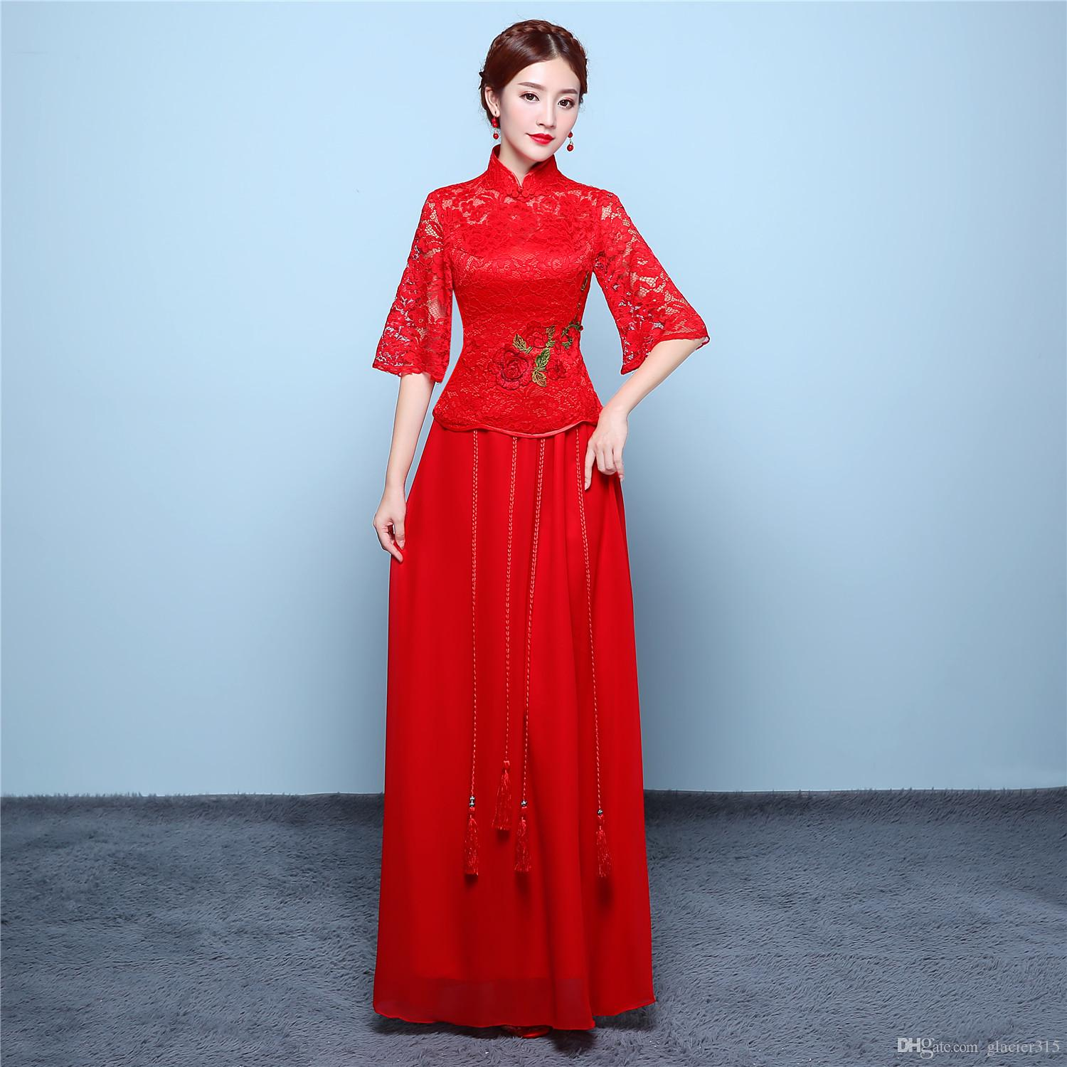 ac274ba4ca2 Shanghai Story Red Lace Butterfly Sleeve Flower Embroidery Chinese ...